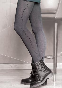 Плътен фигурален чорапогащник с ноти Gatta Chic 03
