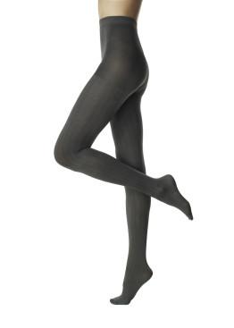 Плътен фигурален сив чорапогащник с шарка шеврон Pompea Constance 60 Den