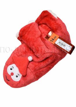Коледни червени пухкави пантофи с Дядо Коледа с шапка и пискюл 7650