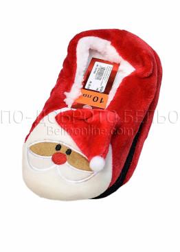 Коледни червени пухкави пантофи с Дядо Коледа с шапка и пискюл 7663