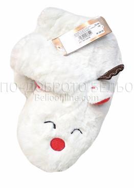 Пухкави меки и топли пантофи с ушички и рогца 7651 в бяло
