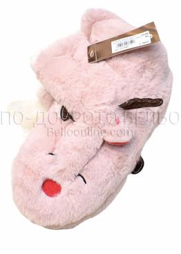 Пухкави меки и топли пантофи с ушички и рогца 7651 в розово