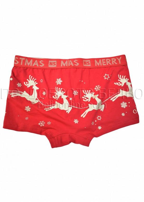 Коледни мъжки боксерки с еленчета и шейна с Дядо Коледа с надпис Merri Cristmas New Silhouette 8569 в червено