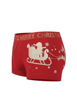 Коледни мъжки боксерки с еленчета и шейна с Дядо Коледа с надпис Merri Cristmas New Silhouette 6797 в червено
