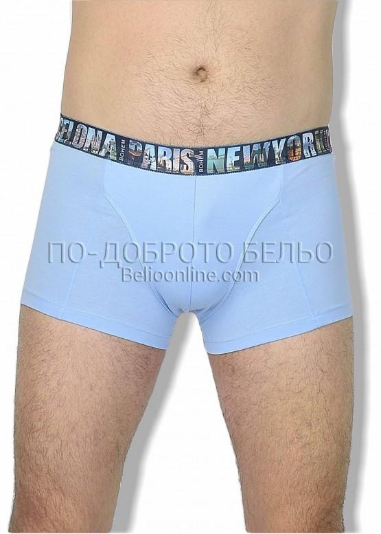 Мъжки боксери Бохем в светло синьо с шарен ластик 6254