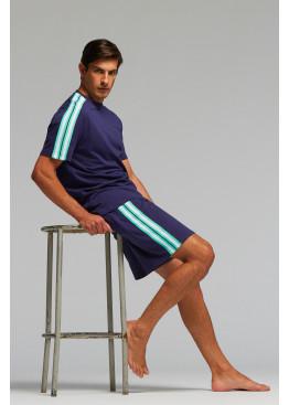 Луксозна мъжка лятна пижама Pompea Dionisio в тъмно синьо