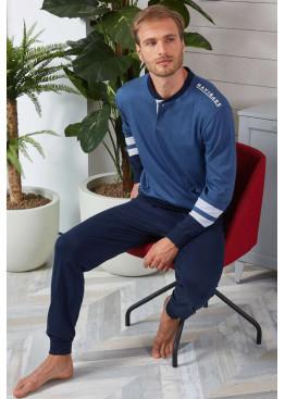 Луксозна мъжка памучна пижама Navigare 141188 в тъмно синьо
