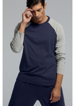Луксозна мъжка памучна пижама Pompea Prisco в тъмно син цвят