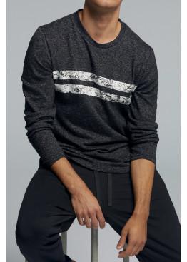 Луксозна мъжка памучна пижама Pompea Ruben в сив меланж
