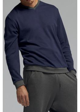 Луксозна мъжка памучна пижама Pompea Tristano с V-деколте