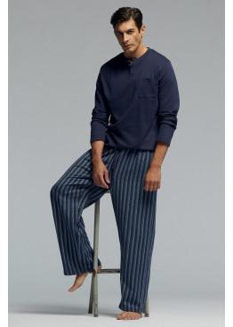Луксозна мъжка памучна пижама с копчета и джоб Pompea Yago в тъмно синьо
