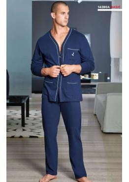 Луксозна мъжка памучна пижама с копчета Navigare 14280 в тъмно синьо