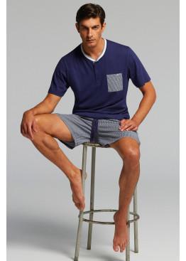 Луксозна мъжка пижама с копчета и къс ръкав Pompea Zeus в тъмно синьо