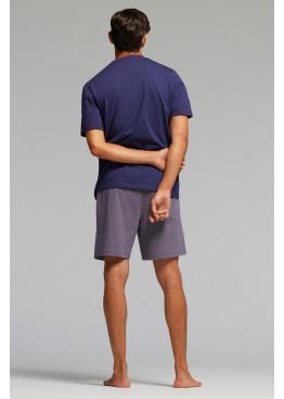 Луксозна мъжка пижама с V-деколте и къс ръкав Pompea Eros в тъмно синьо