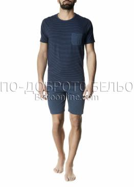 Мъжка лятна пижама Pompea Cromo с къс ръкав и късо долнище на райе