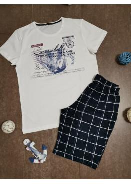 Мъжка лятна пижама с къс ръкав и къси панталони Иватекс 7970