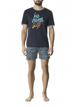 Мъжка лятна пижама с къс ръкав и къси панталони Pompea Furio