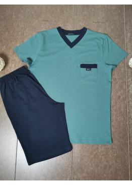 Мъжка лятна пижама с къс ръкав и късо долнище Иватекс 8026 в зелено