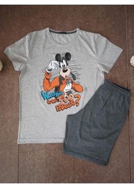 Мъжка лятна пижама с къс ръкав Иватекс 7023 сив