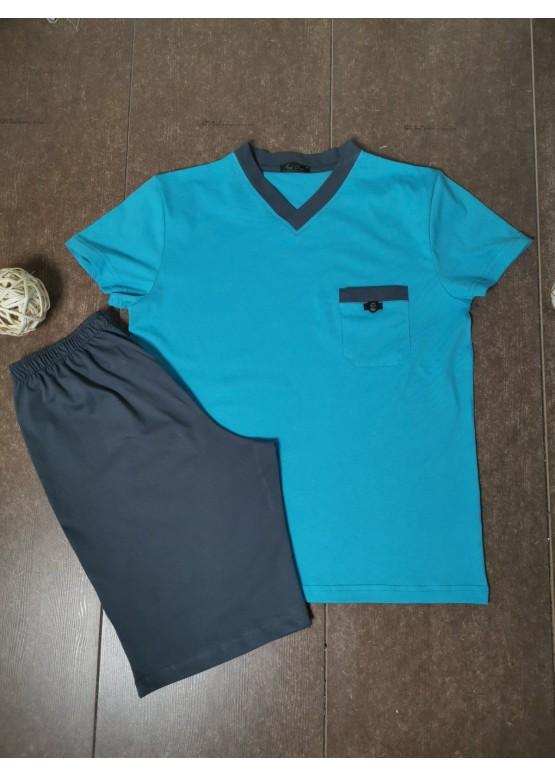 Мъжка лятна пижама с къс ръкав Иватекс 8026 светло син