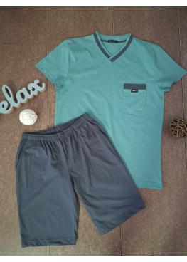 Мъжка лятна пижама с V-деколте Иватекс 8713