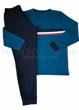 Мъжка памучна пижама Иватекс 9989 в синьо с дълги ръкави