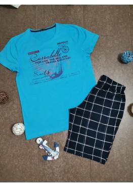 Мъжка памучна пижама с къси ръкави и къси панталони Иватекс 7971