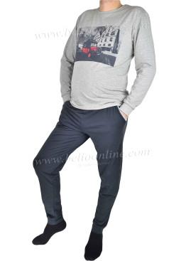 Мъжка памучна пижама със стеснено долнище 3447