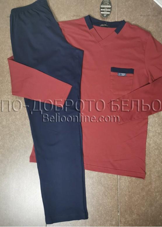 Мъжка пижама с дълъг ръкав и дълго долнище 8009 в керемиден цвят
