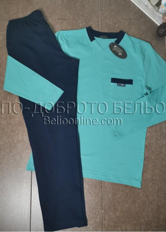 Мъжка пижама с дълъг ръкав и дълго долнище 8009 в светло зелен цвят
