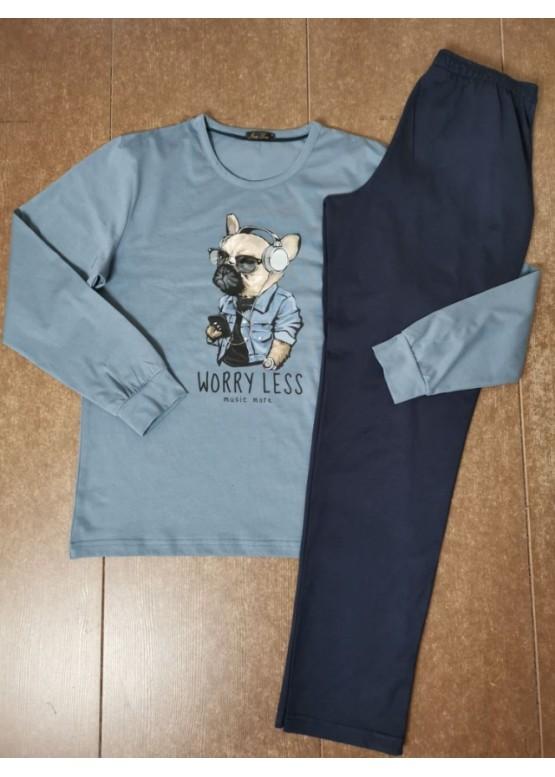Мъжка пижама с дълъг ръкав и забавна картинка Иватекс 8017