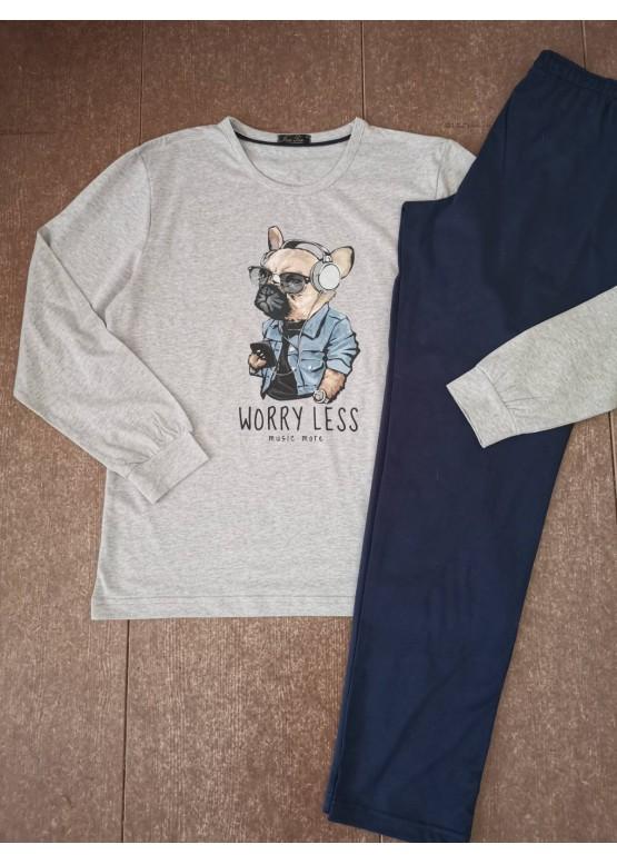 Мъжка пижама с дълъг ръкав и забавна картинка Иватекс 8017 в сиво