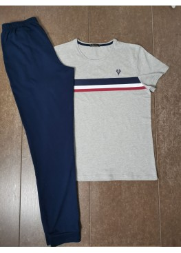 Мъжка пижама с къс ръкав и дълго долнище Иватекс 8019