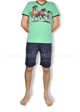 Мъжка пижама с къс ръкав и къси панталони 6055