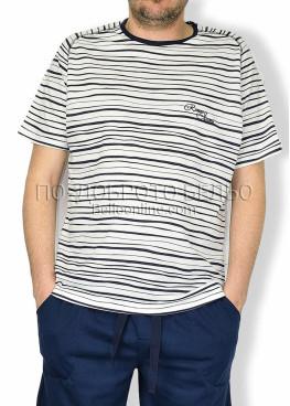 Мъжка пижама с къс ръкав райе 6175