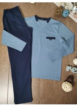 Мъжка пижама с V-деколте Иватекс 8009 в синьо