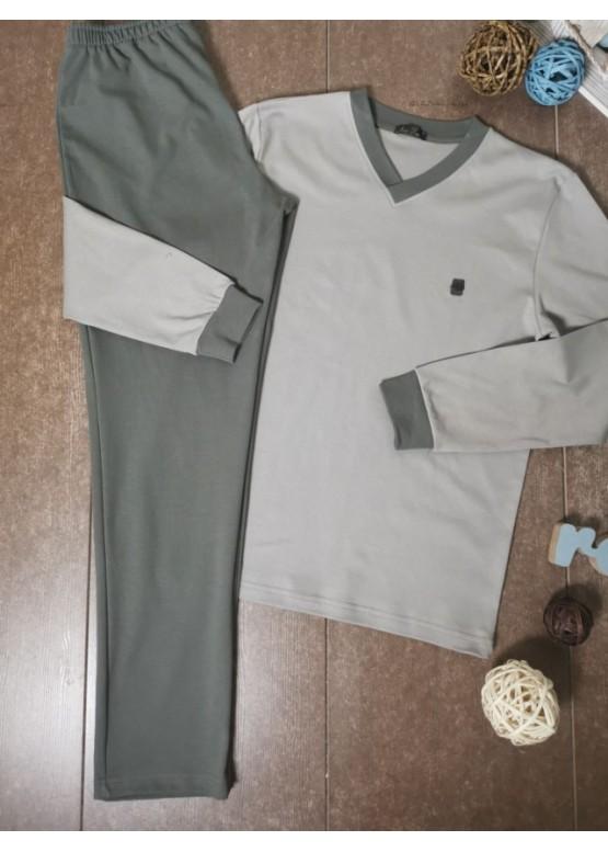 Мъжка пижама с V-деколте Иватекс 8009 в сиво