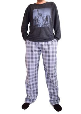 Мъжка вълнена пижама с бархетно долнище 3444
