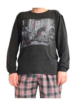Мъжка вълнена пижама с бархетно долнище 3445