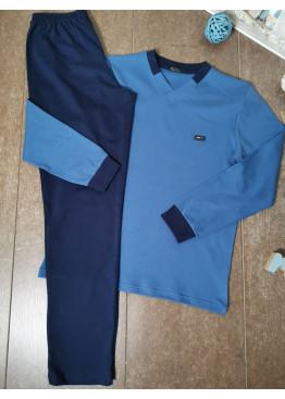 Мъжка зимна пижама от памук интерлог Иватекс 8015 в синьо