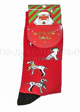 Коледни мъжки памучни чорапи с кученца в червен цвят Aura Via 7672