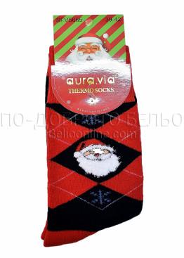 Коледни мъжки термо чорапи с Дядо Коледа в черно и червено каре Aura Via 7670
