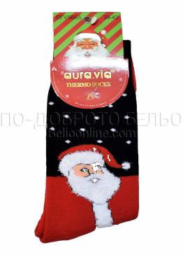 Коледни мъжки термо чорапи с Дядо Коледа в черно и червено на точки Aura Via 7670