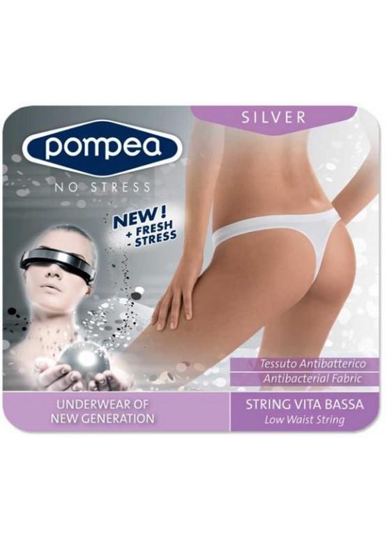 Безшевен стринг POMPEA Silver ниска талия