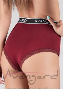Дамски бикини с висока талия в  цвят бордо и външен ластик Avangard 413