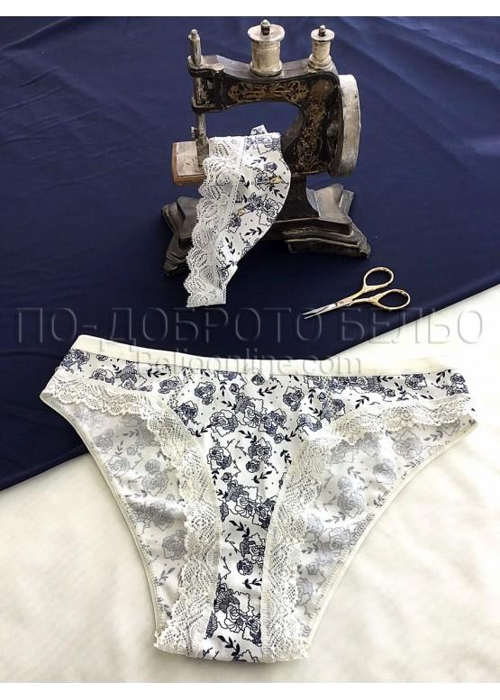 Дамски памучни  бикини Мис Марис 1048 сини цвятя