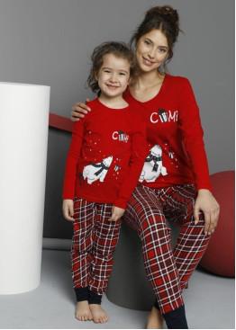Детска коледна пижама в червено и карирана долница с маншет 9277 Мечо