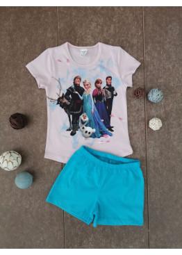 Детска лятна пижама с къс ръкав и късо долнище Иватекс 202 Замръзналото кралство
