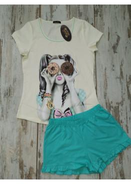 Детска лятна пижама с къс ръкав Иватекс 7735