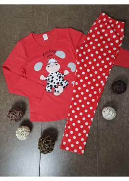 Детска пижама с дълъг ръкав Иватекс 00203 с кравичка в червено